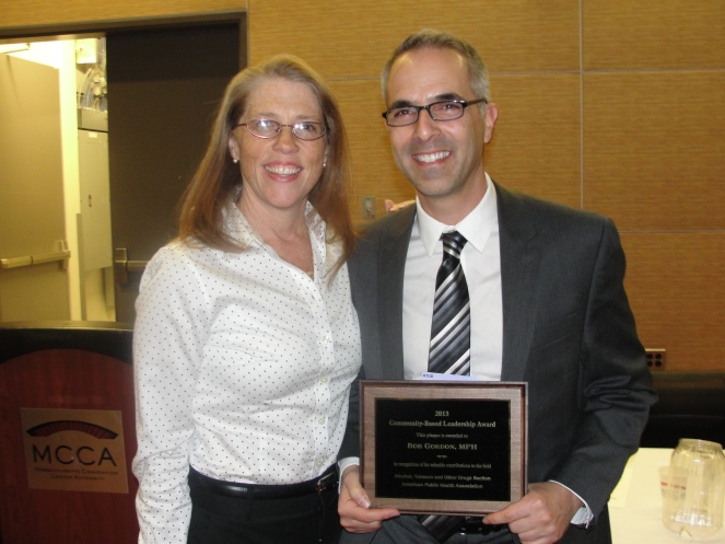 Cynthia Hallett,  Executive Director Americans for Nonsmokers' Rights and Bob Gordon smile for the camera!