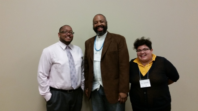 My fellow Network for LGBTQ Health Equity scholarship recipients Heru Kheti (middle) and E.Shor (right).