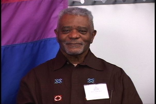 "Black bisexual LGBT icon ABilly S. Jones (with G. Gerald and Craig Harris) organizes first federally funded national ""AIDS in the Black Community Conference"" in Washington, D.C. Photo Credit: BiCities TV @ BECAUSE Conference http://blip.tv/bicities/256-abilly-s-jones-hennin-at-because-7021559"
