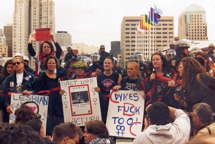 Bisexuals were out in full force at the 6th International AIDS Conference in San Francisco. Bisexual activist Rebecca Hensler (third from right) is pictured above protesting with other women from ACT UP. Photo Credit: Liz Highleyman