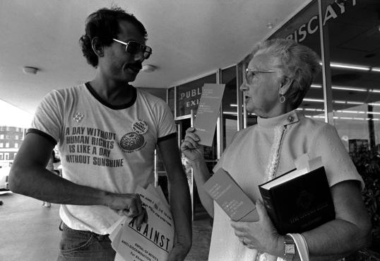 """Caption: In a devastating October 1987 article, Newsweek portrays bisexual men as """"the ultimate pariahs"""" of AIDS epidemic. Bi activist and person with AIDS, Dr. Alan Rockway of BiPOL is quoted speaking against the stereotype. Dr. Rockway was also a pioneering psychologist who helped write and defend the first LGBT employment non-discrimination ordinance to be approved in a major urban area in the U.S.(Dade County, Florida, 1977). Dr. Rockway's contributions are often """"bisexually erased"""" and he is often """"misoriented"""" as a gay man instead of being properly identified as bisexual. Photo Credit: WYPR News, news.wypr.org/post/timeline-gay-marriage-law-pop-culture-and-courts"""