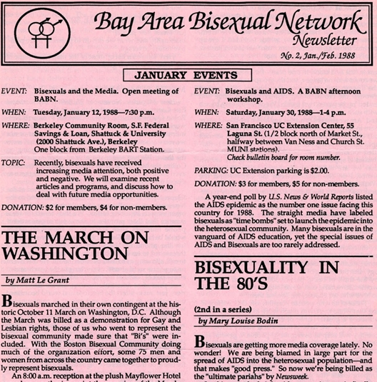 "At the beginning of 1988, the bisexual community continued to defend itself after being labeled ""time bombs"" by Newsweek. In January 1988, the Bay Area Bisexual Network held an afternoon workshop on ""Bisexuals and AIDS"" at the San Francisco UC Extension Center. Check out that $2 parking! Photo Credit: Photo Credit: Queerest Library Ever Blog: http://queerestlibraryever.blogspot.com/2013/01/archives-david-Loreau-and-bisexual.html"