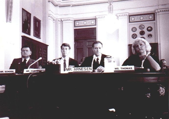 Caption: Also in 1989, Cliff Arnesen became the first openly bisexual veteran to testify before members of the Unites States Congress during formal hearings held before the U.S. House Committee on Veterans Affairs. Arnesen addressed lesbian, gay and bisexual veteran's health issues including HIV/AIDS, Agent Orange, post-traumatic stress and homelessness. Photo Credit: GLAAD, http://www.glaad.org/2009/09/23/first-person-biography-of-a-bisexual-us-army-veteran