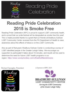 Reading Pride celebration becomes smoke free in 2015.