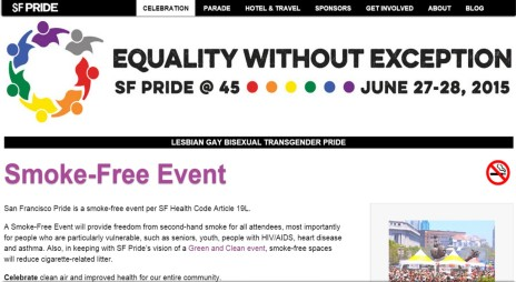 Section of the San Francisco Pride website reminds attendees that smoke-free spaces to protect seniors, youth, people with HIV/AIDS and reduce cigarette-related litter